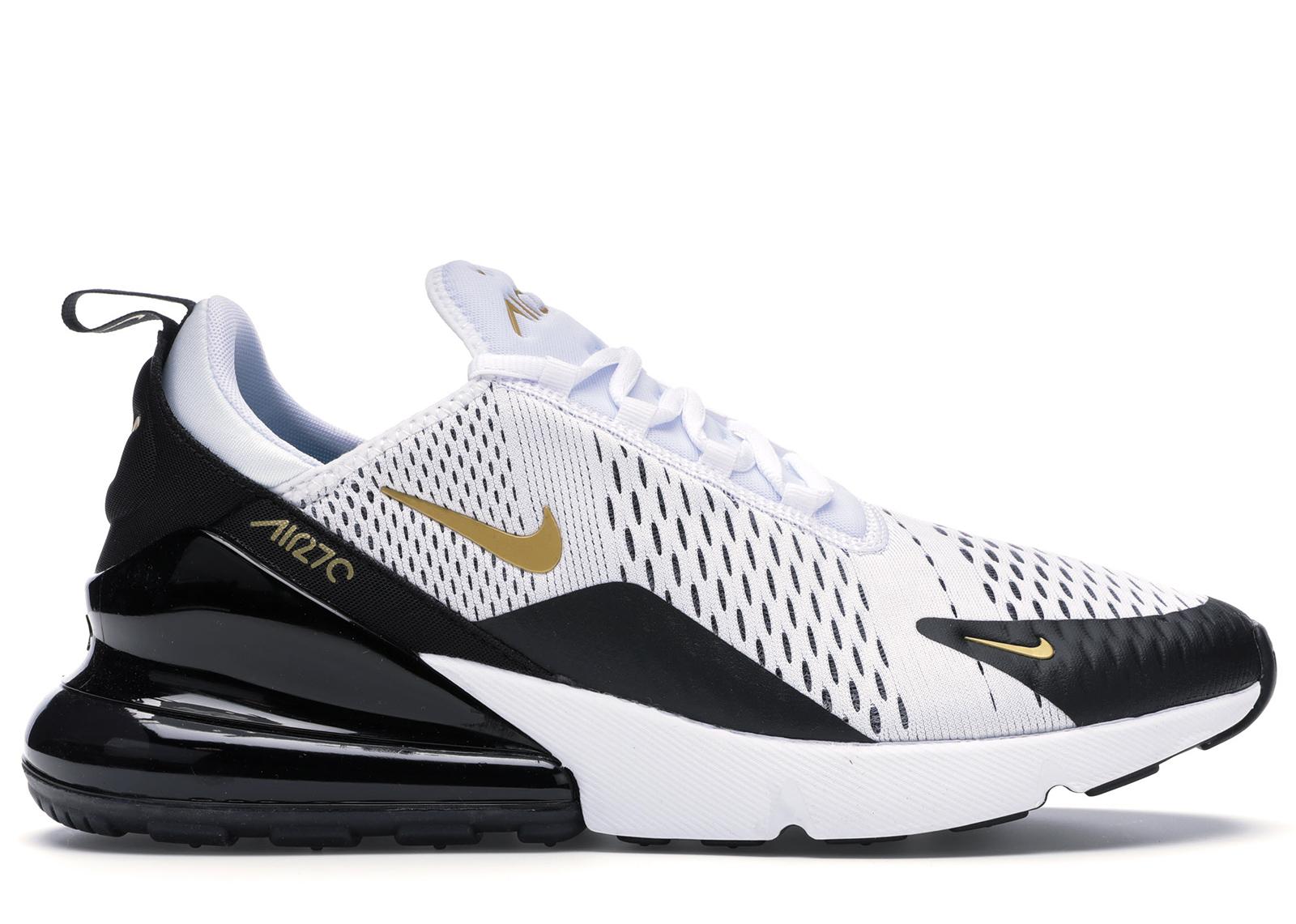 Nike Air Max 270 White Metallic Gold Black