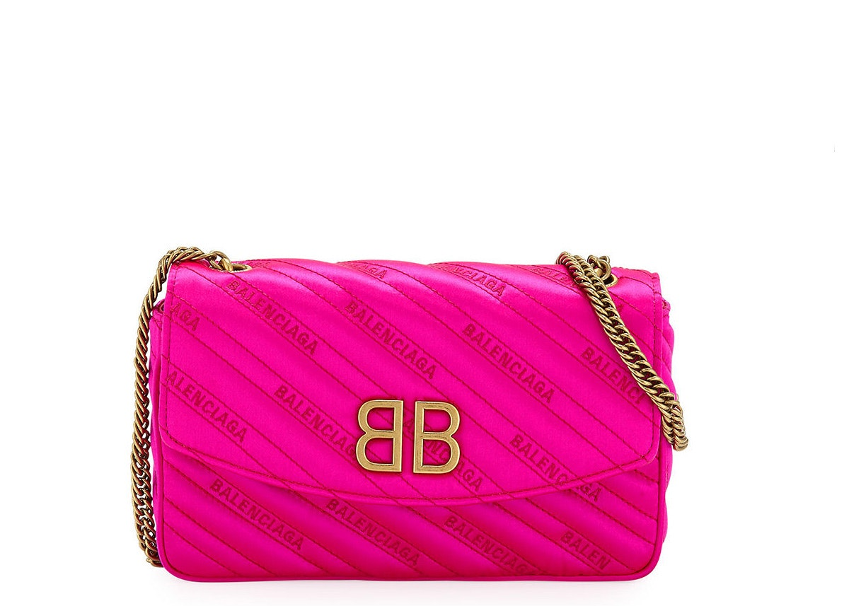 Balenciaga BB Satin Wallet on Chain Quilted Pink