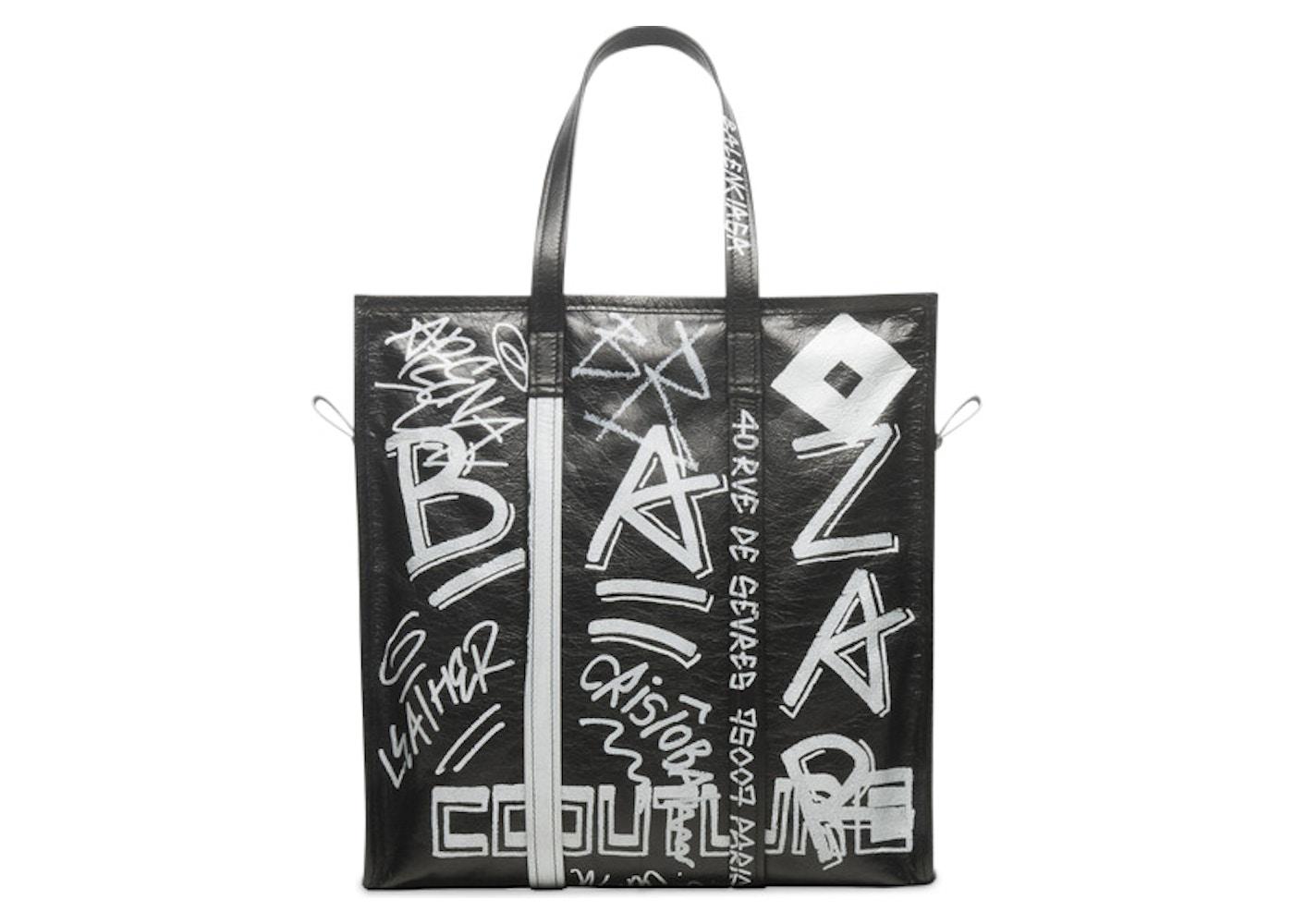 7b042cc77aae Balenciaga Bazar Shopper Graffiti Medium Black White