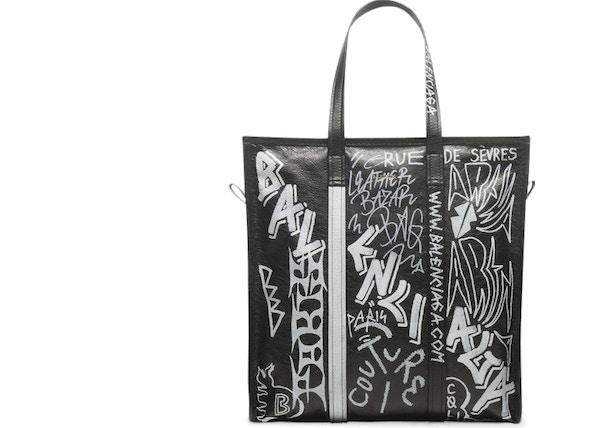 d64802a0 Balenciaga Bazar Shopper Graffiti Medium Black/White