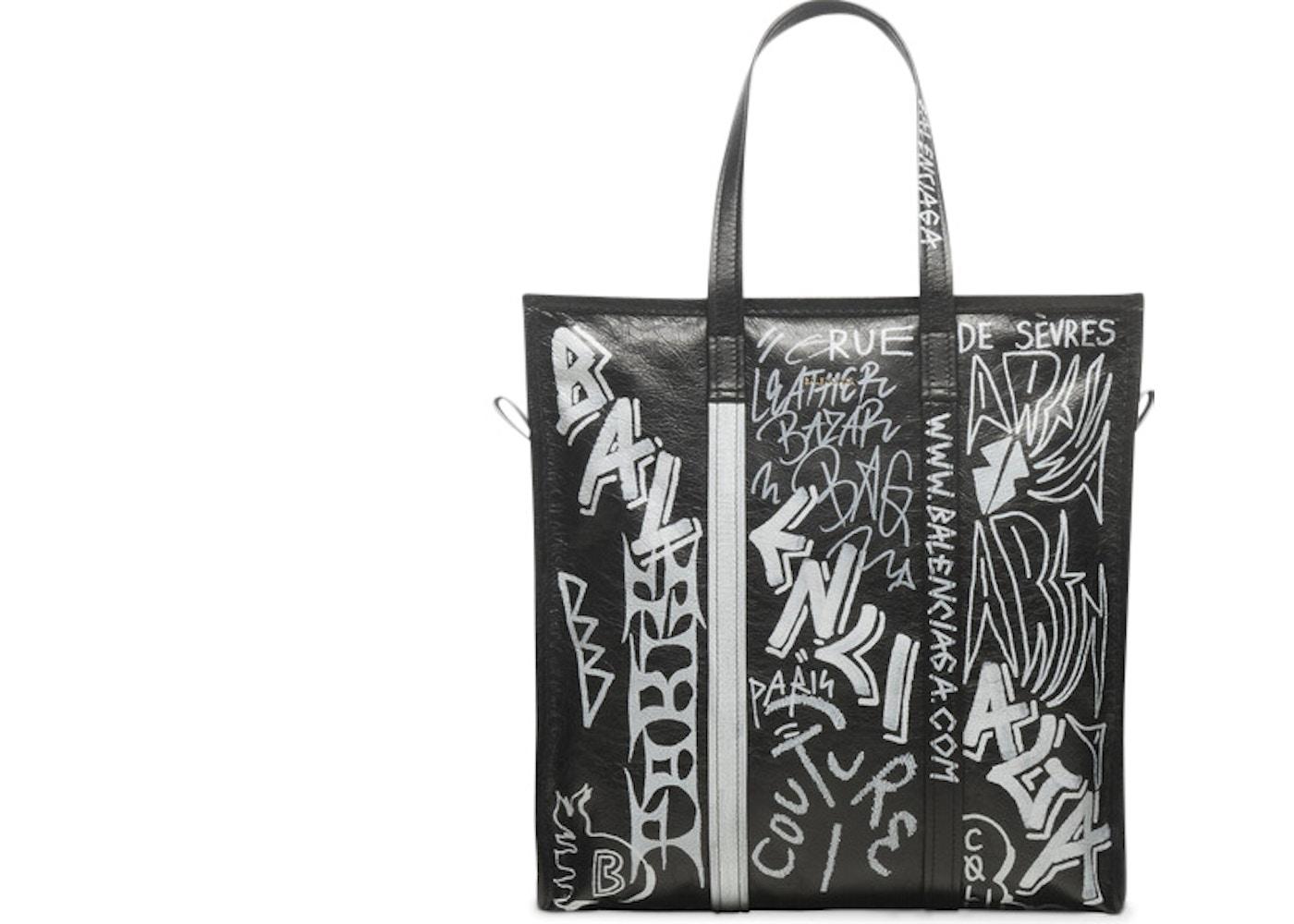 ec40ccae8187 Balenciaga Bazar Shopper Graffiti Medium Black White. Graffiti Medium Black  White
