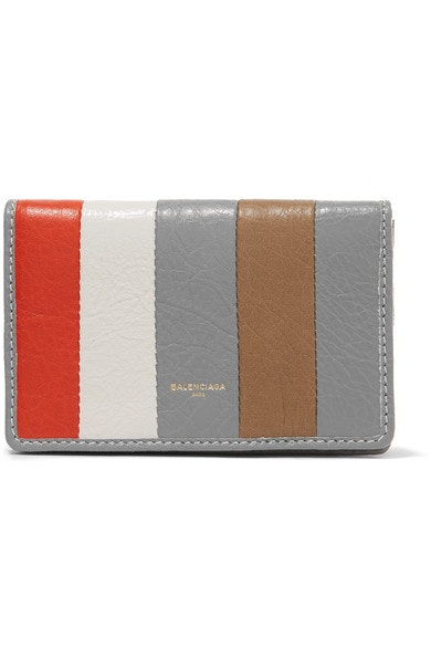 Balenciaga Bazar Wallet Striped Grey Red Beige
