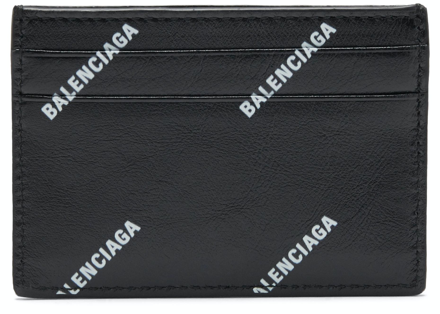 Balenciaga Card Case All Over Logo Black White