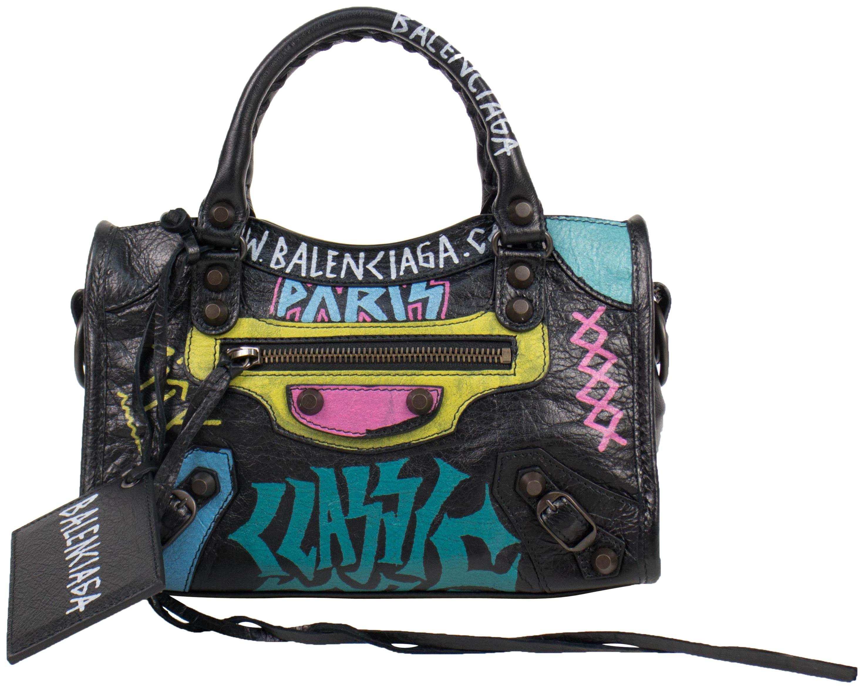 Balenciaga City Classic Graffiti Mini Black Multicolor