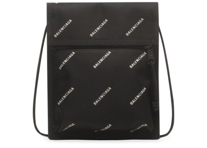 Balenciaga Explorer Pouch Strap Logos Small Black/White
