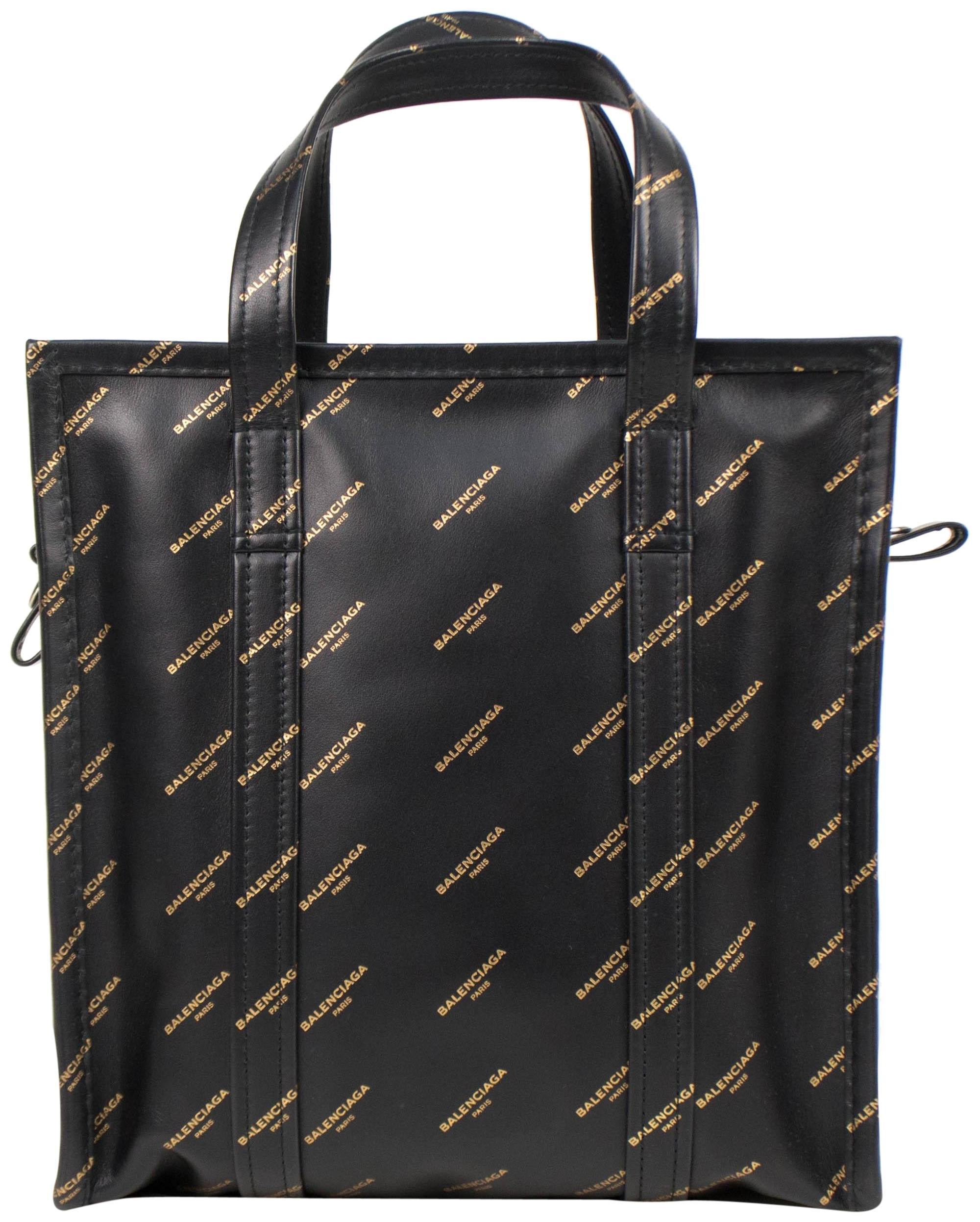 Balenciaga Shopper Bazar All Over Logo Small Black