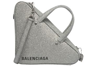 Balenciaga Triangle Duffle Glitter Xs Gris Aluminum