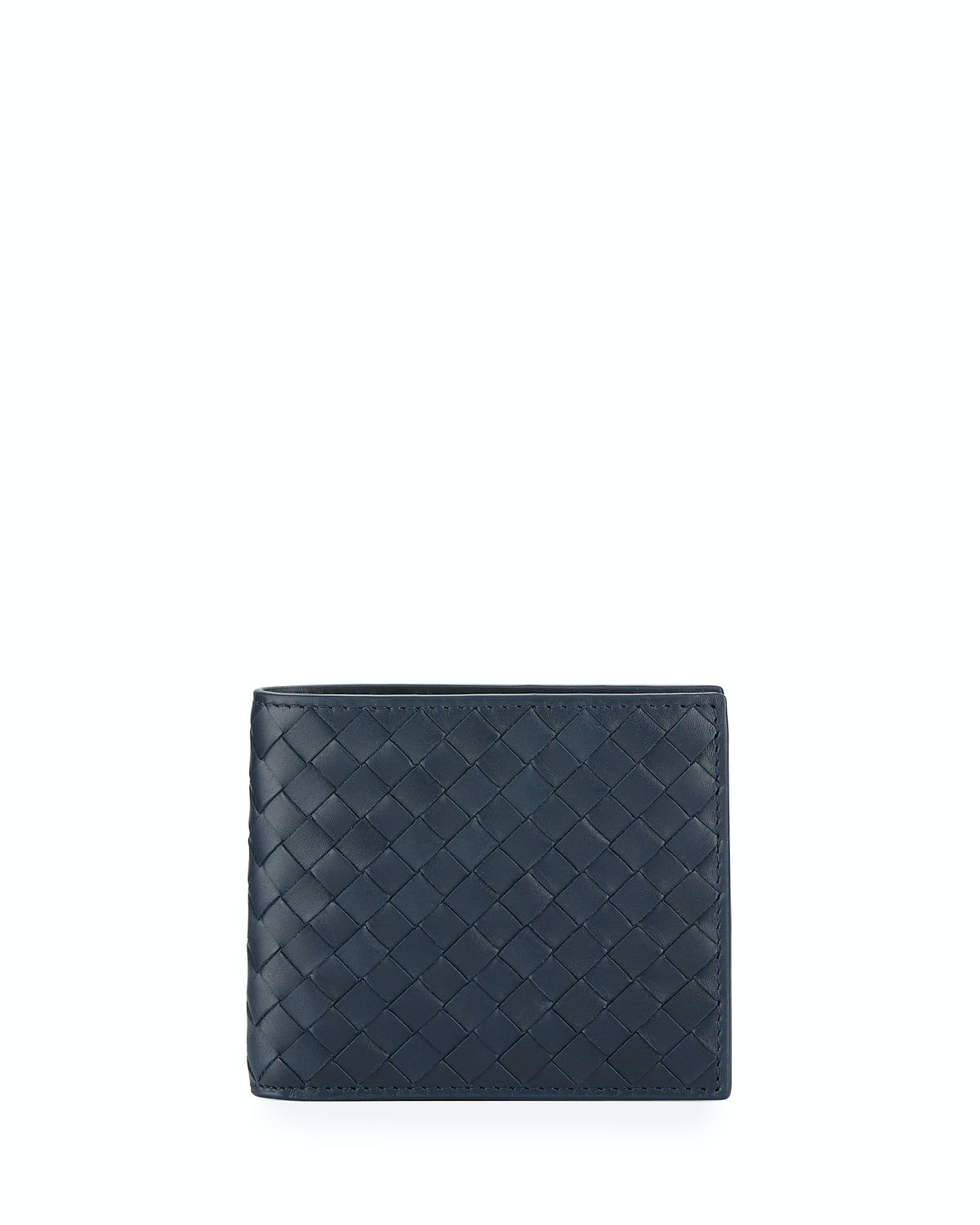 Bottega Veneta Basic Bifold Wallet Woven Navy