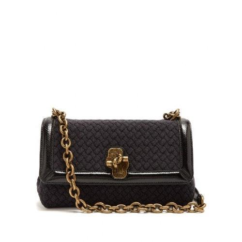 Bottega Veneta Olimpia Knot Bag Knit Anthracite Intercciato Black