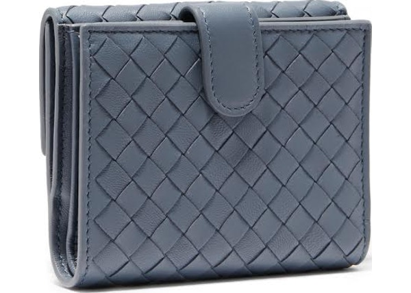 0438650458c6c Bottega Veneta Tourmaline Wallet Nappa Intrecciato Lambskin Mini Dark Blue