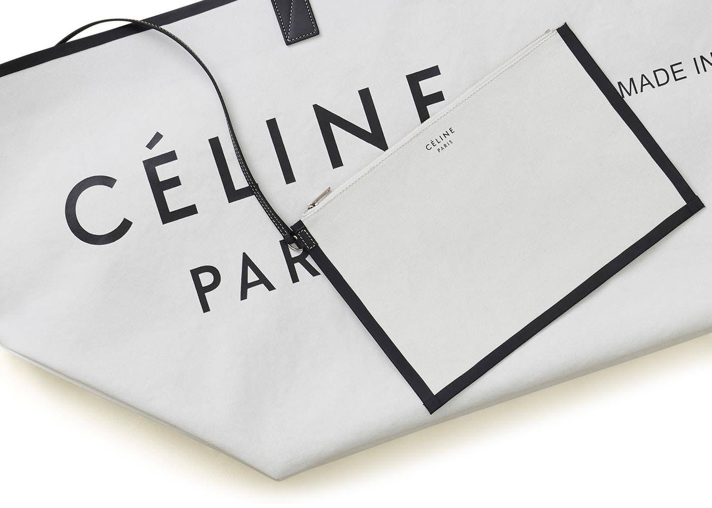 84078bb45ebc Celine Cabas Made In Large White Black