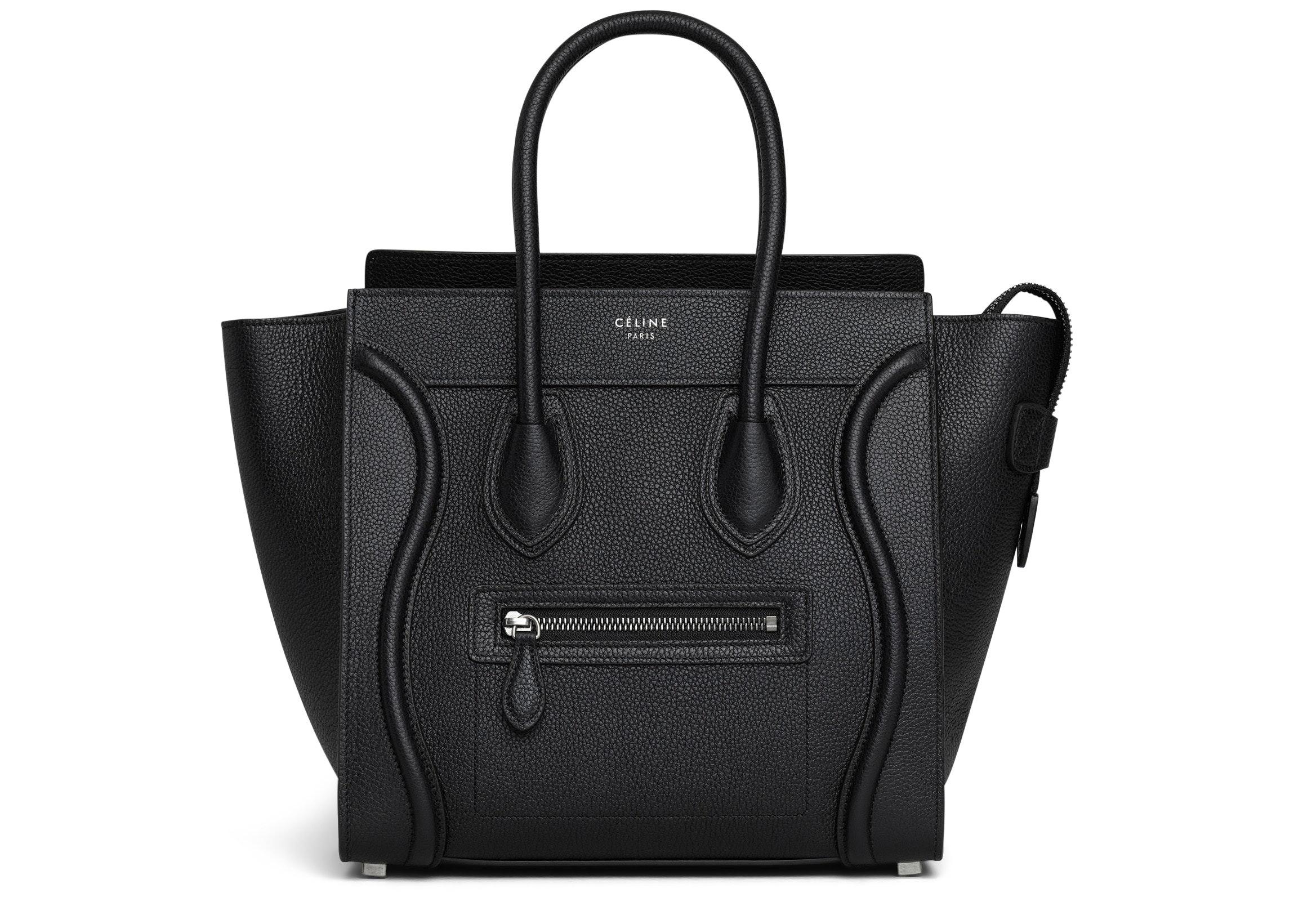 Celine Luggage Drummed Micro Black