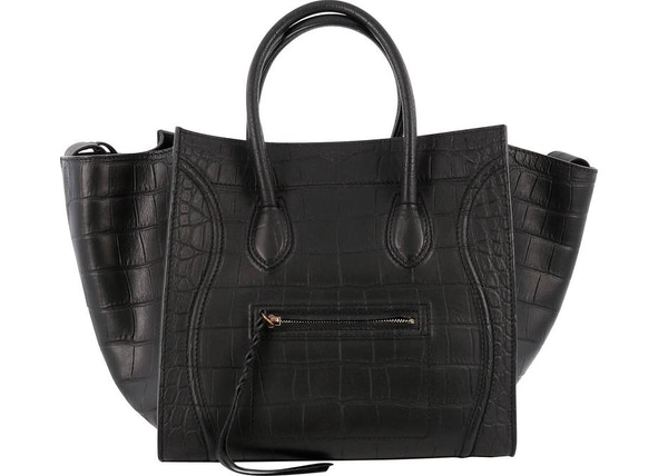 641fc700bd83 Celine Luggage Tote Crocodile Embossed Phantom Black