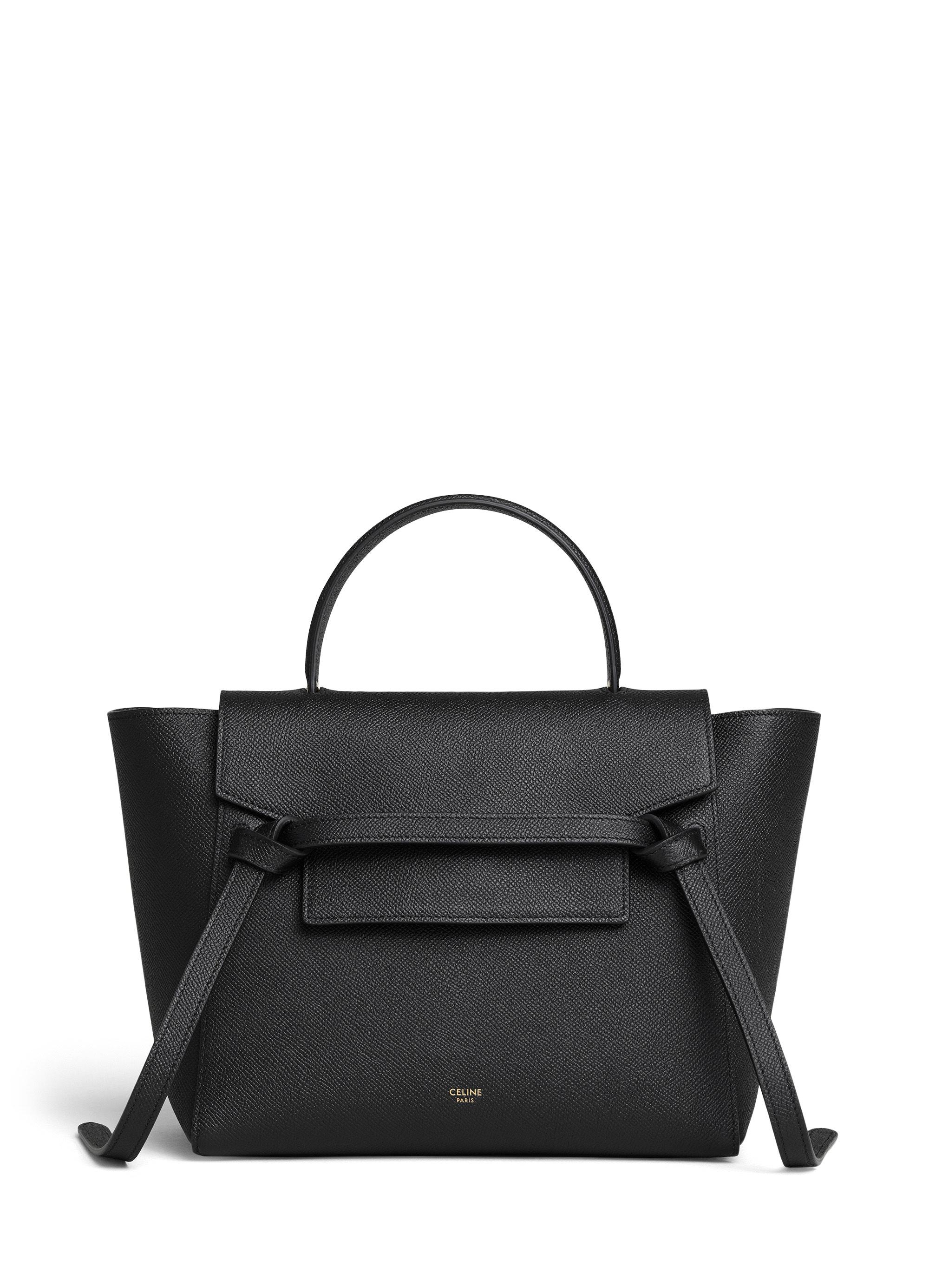 Celine Top Handle Belt Bag Grained Micro Black