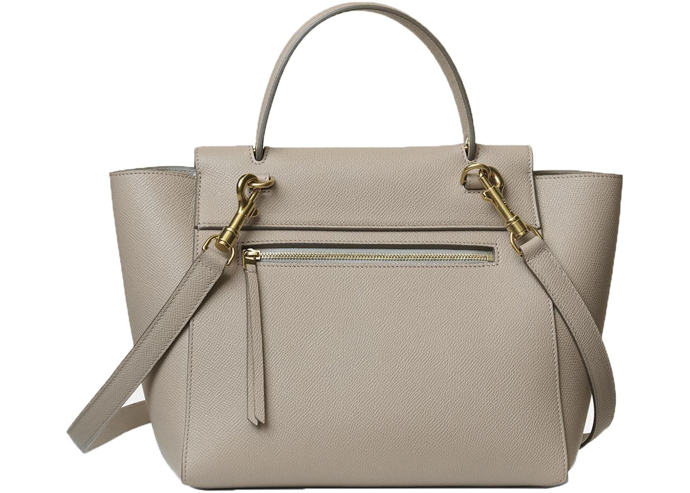 Celine Top Handle Belt Bag Grained Micro Light Taupe