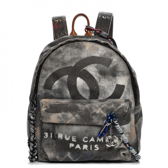 Chanel Art School Backpack Graffiti Medium Black
