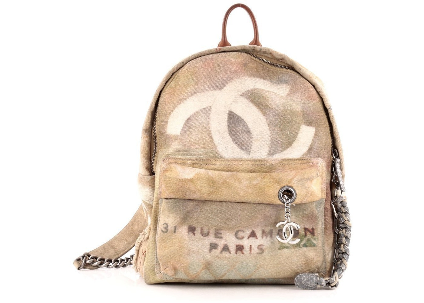 Chanel Art School Backpack Graffiti Small Tan