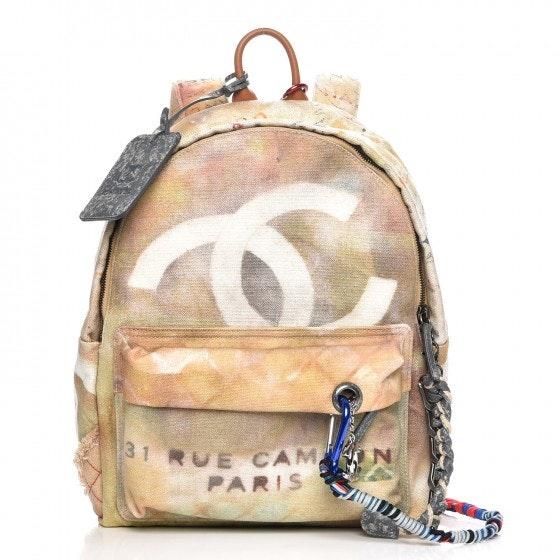 Chanel Art School Backpack Graffiti Printed Medium Beige
