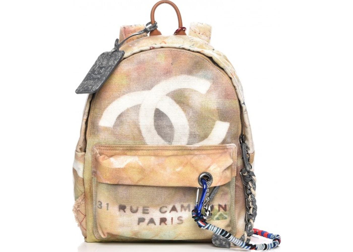 775da4527f49 Chanel Art School Backpack Graffiti Printed Medium Beige