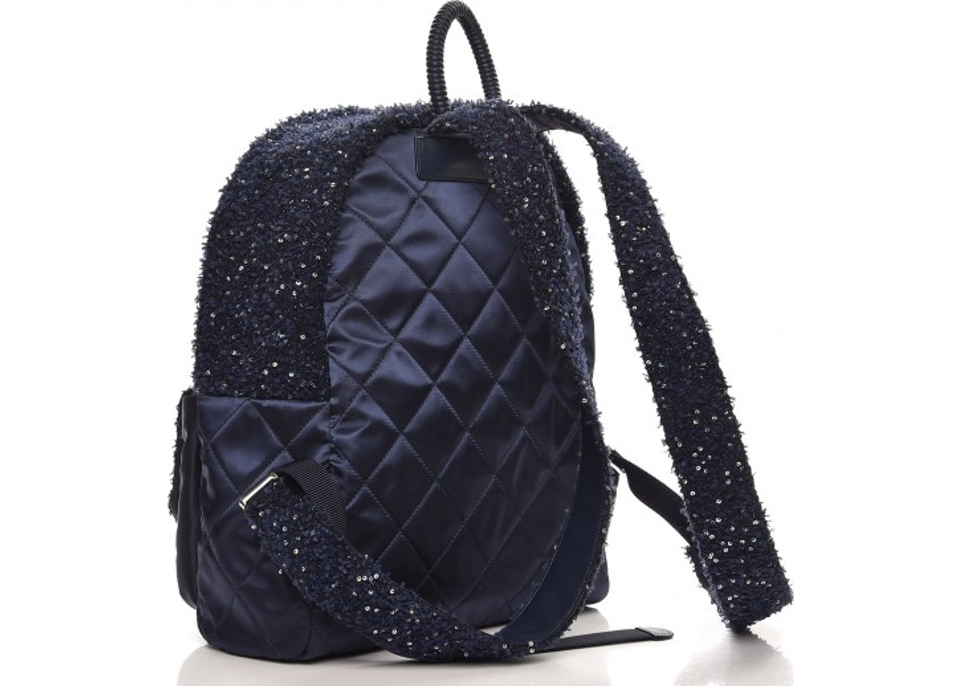 e98ee1317acb Chanel Astronaut Essentials Backpack Quilted Diamond Iridescent Sequins Navy  Blue