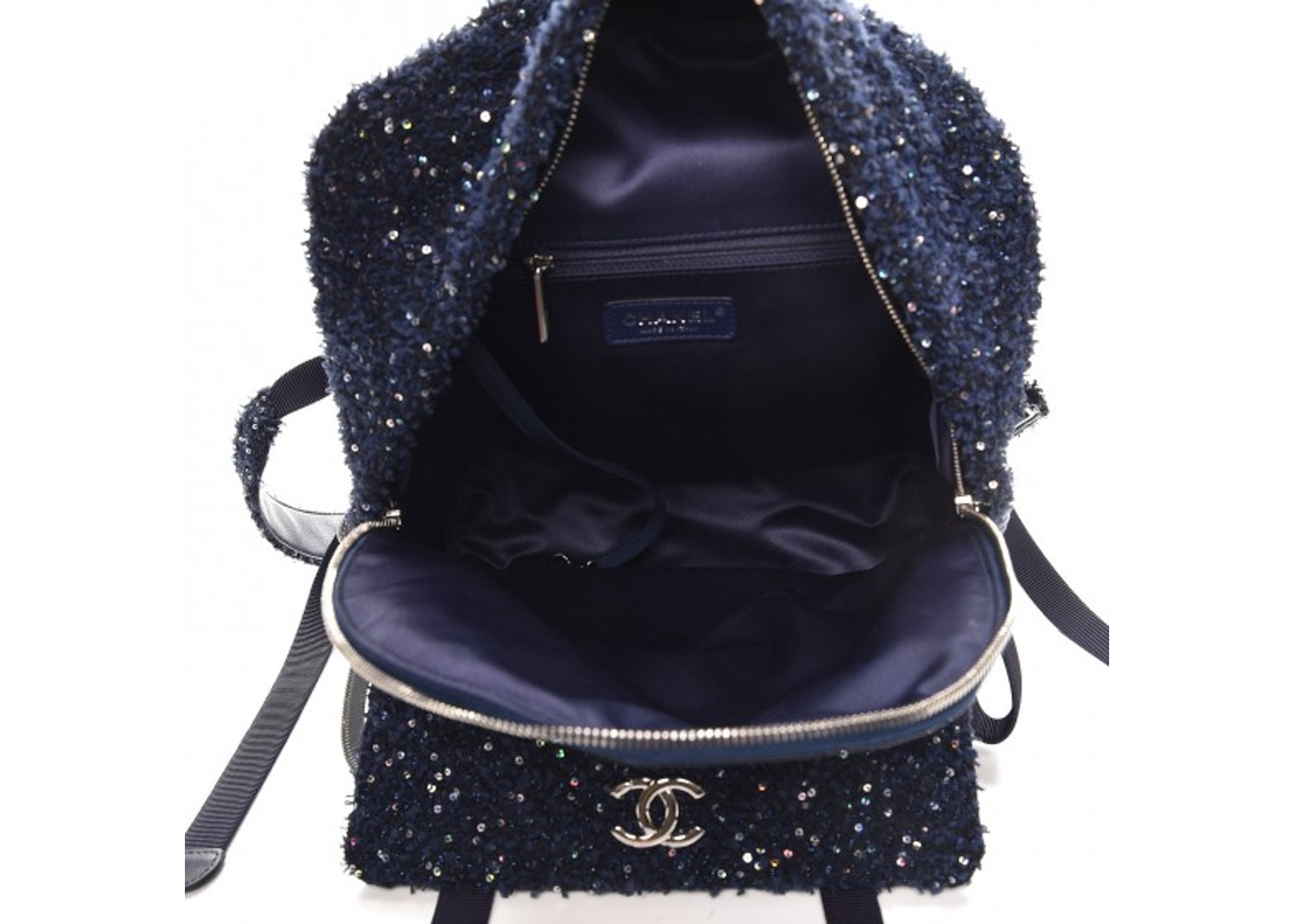 b31494433596 Chanel Astronaut Essentials Backpack Quilted Diamond Iridescent Sequins Navy  Blue