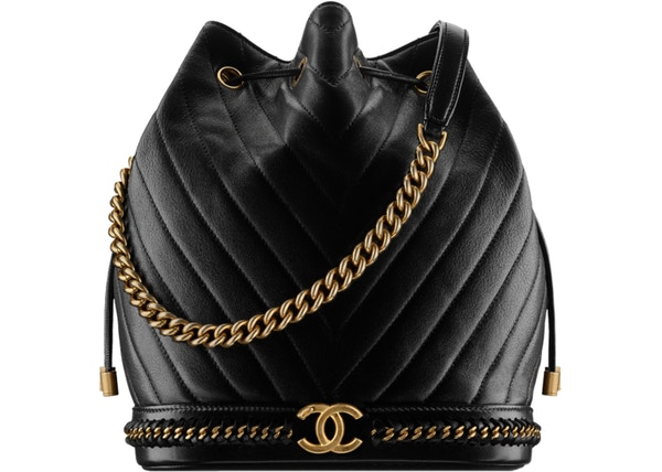 a383bc97b0b3 Chanel Drawstring Backpack Chevron metiers d'art Quilted Black