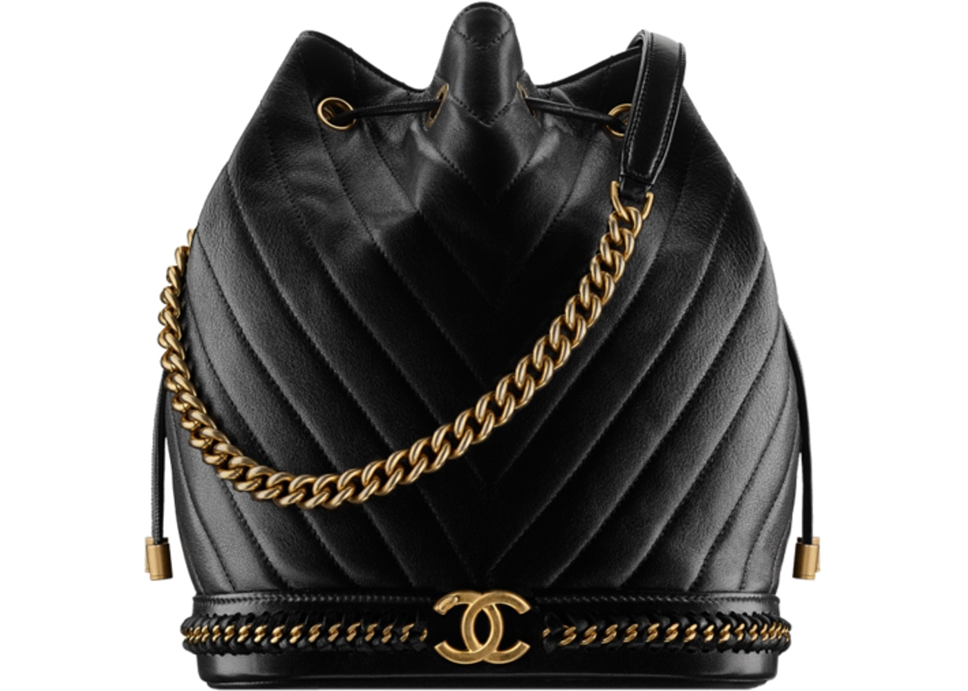 01403c5f8207 Chanel Drawstring Backpack Chevron metiers d art Quilted Black