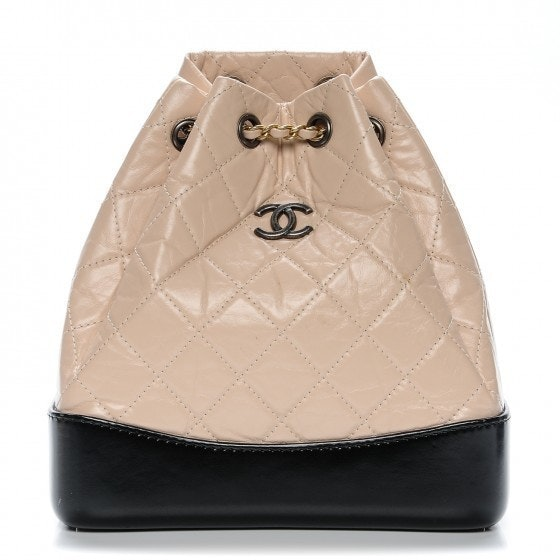 Chanel Gabrielle Backpack Diamond Quilted Beige/Black