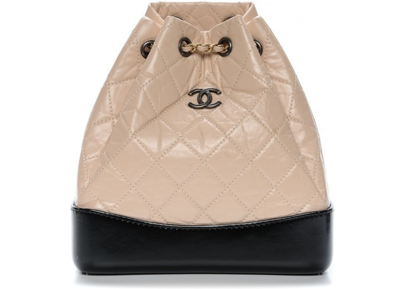 92c07287a6cb Chanel Gabrielle Backpack Diamond Quilted Beige/Black