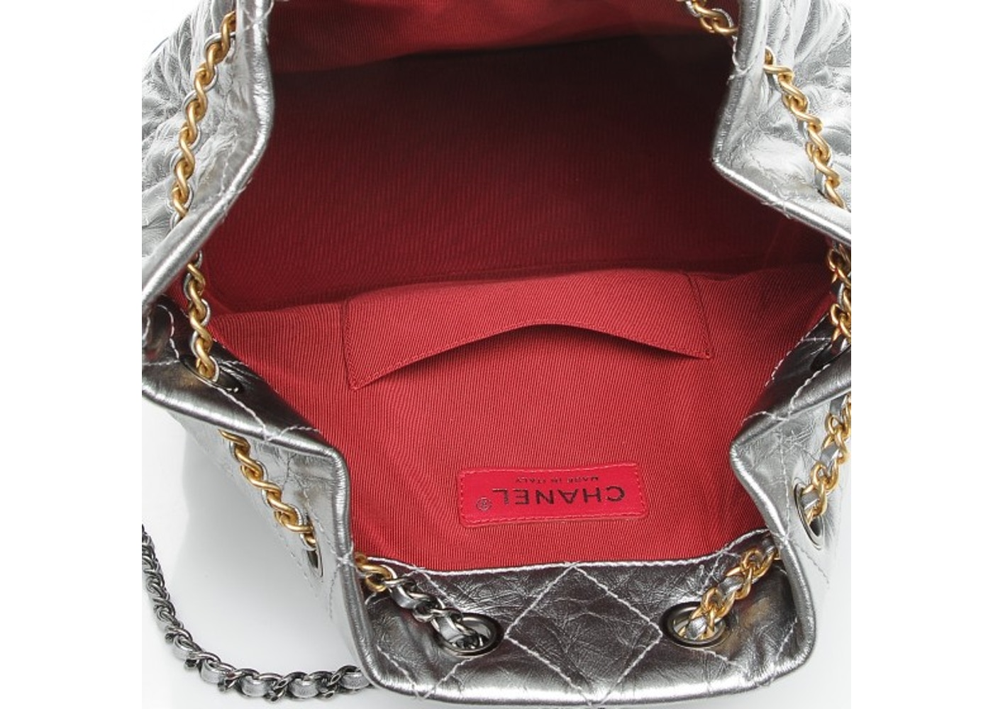 10161430323a Chanel Gabrielle Backpack Quilted Diamond Metallic/Crumple Silver