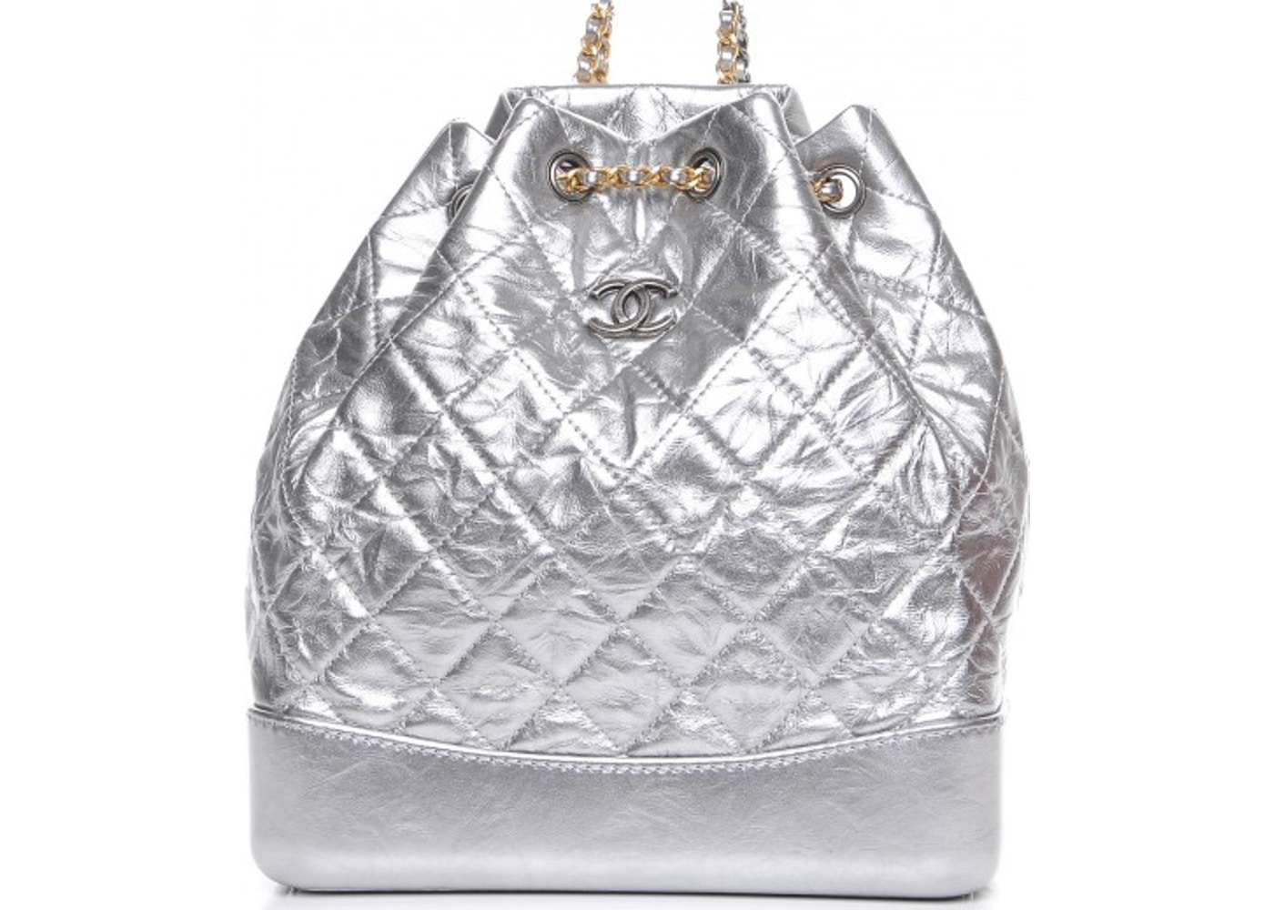 897c734e1d37 Chanel Gabrielle Backpack Quilted Diamond Metallic/Crumple Silver. Quilted  Diamond Metallic/Crumple Silver