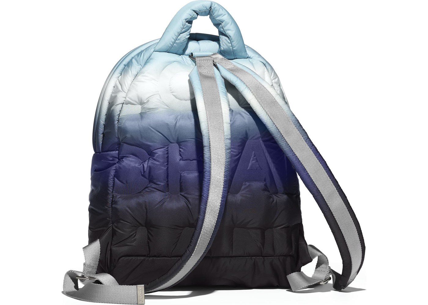 4b59df44a4a2 Chanel Doudoune Backpack Embossed Black/Blue/White