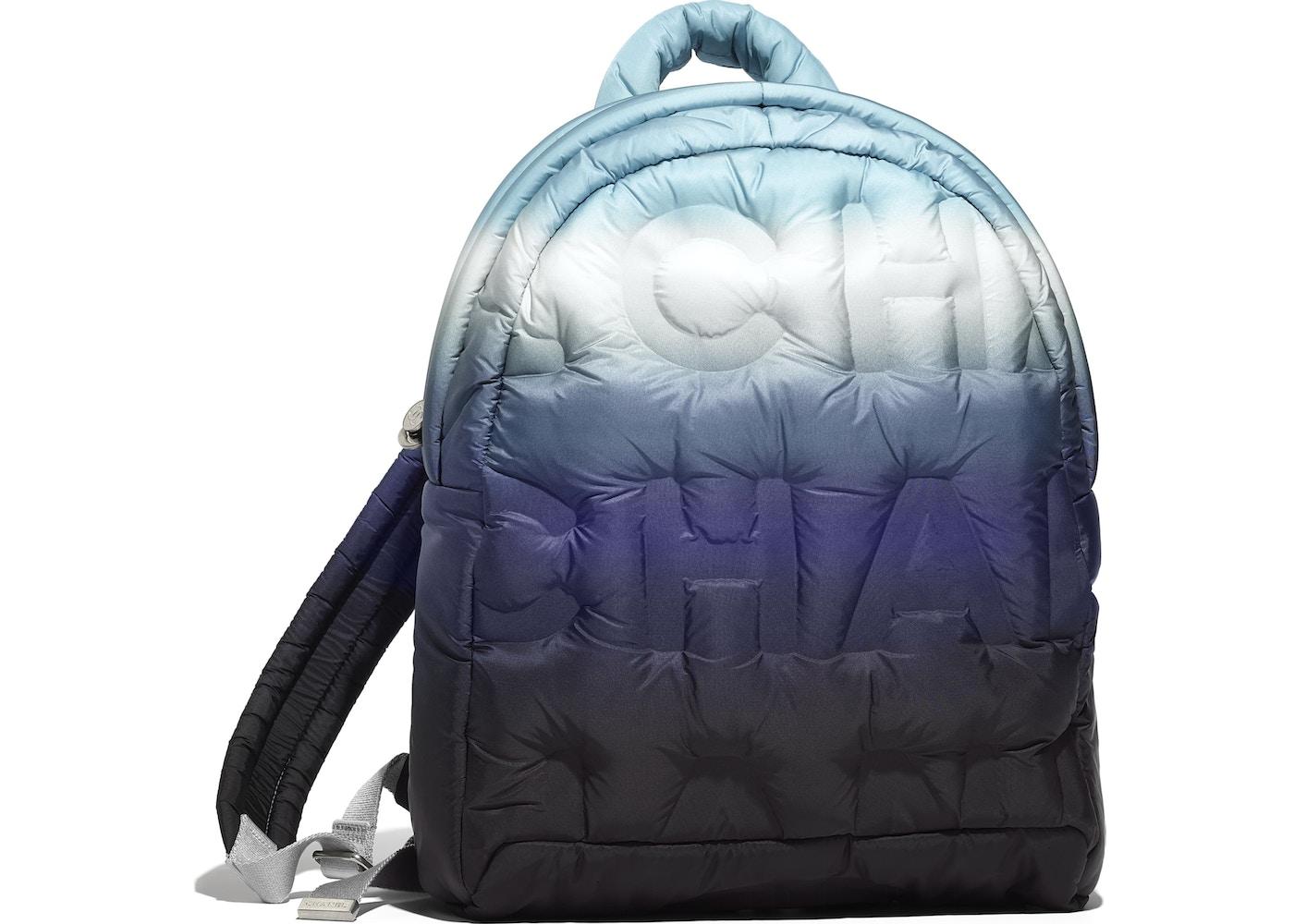 51373b9ad76c Chanel Doudoune Backpack Embossed Black/Blue/White. Embossed  Black/Blue/White