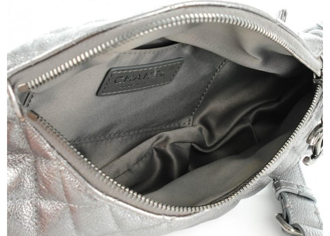 0a6ee1d6372d Chanel Banane Waist Bag Quilted Metallic Silver