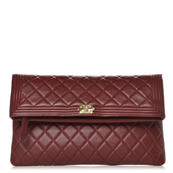 Chanel Beauty CC Boy Clutch Quilted Diamond Red