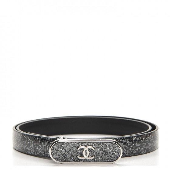 Chanel CC Logo Skinny Belt Glitter 80 32 Black/Dark Silver