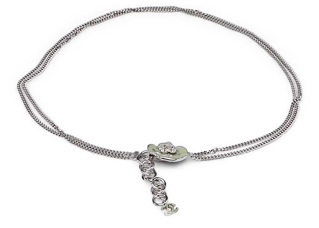 Chanel Belt Camellia Silver