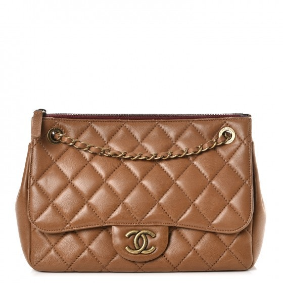 Chanel Blizzard Zip Top Flap Quilted Diamond Large Light Brown