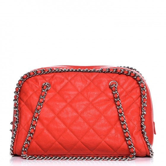 Chanel Chain Around Bowler Quilted Diamond Washed Red