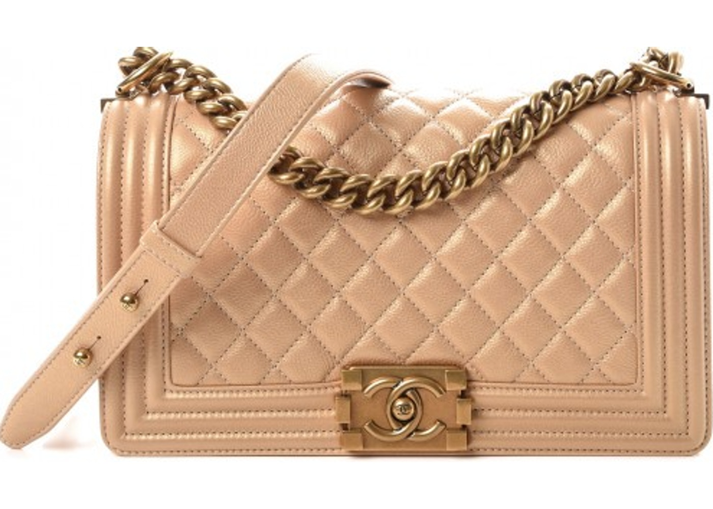 accc9a18613c Chanel Boy Flap Quilted Diamond Pearl Medium Gold. Quilted Diamond Pearl  Medium Gold