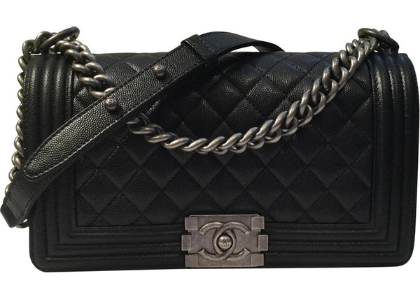 456a1529942aac Chanel Boy Bag Quilted Old Medium Black