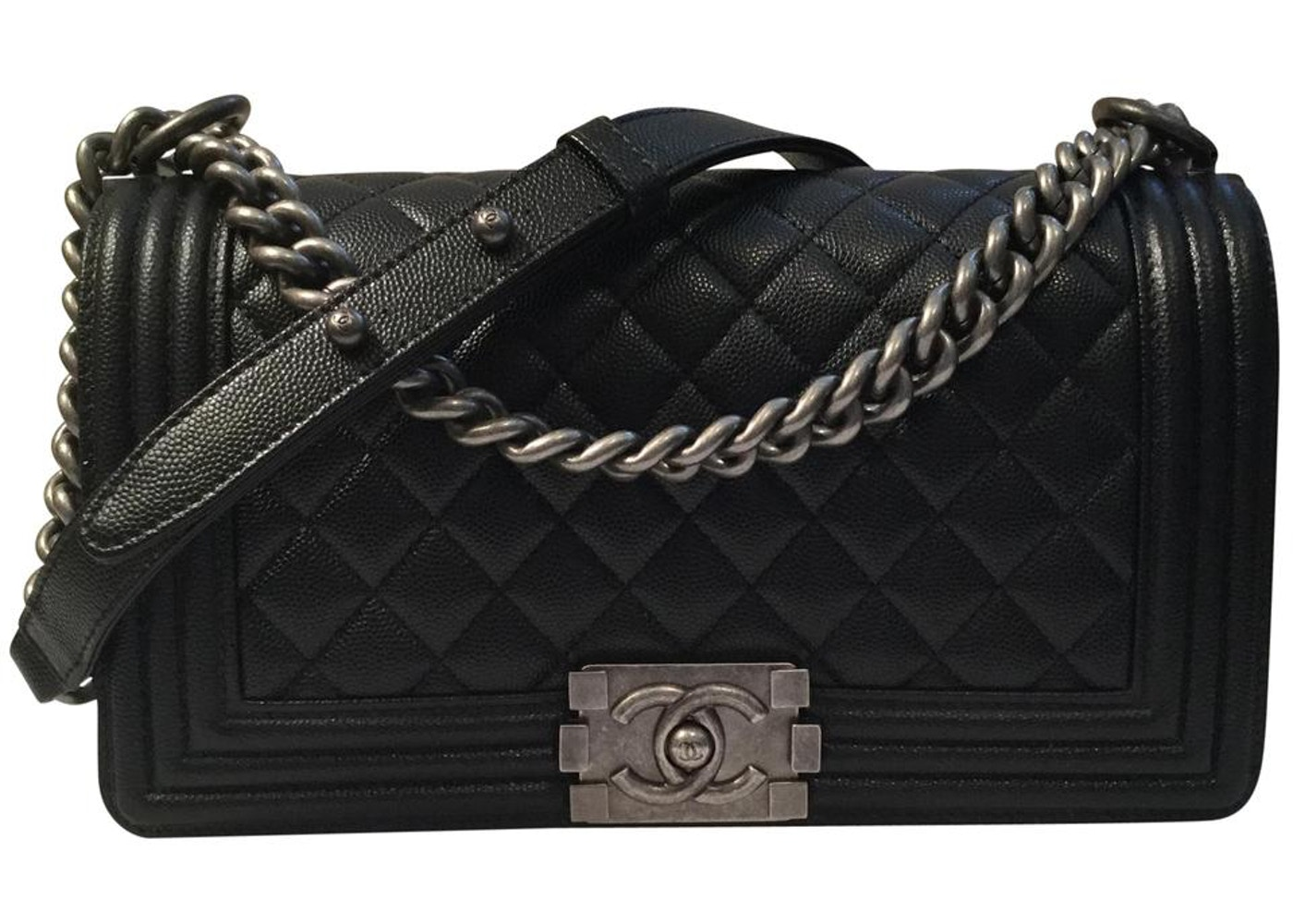 Chanel Boy Bag Quilted Caviar Silver