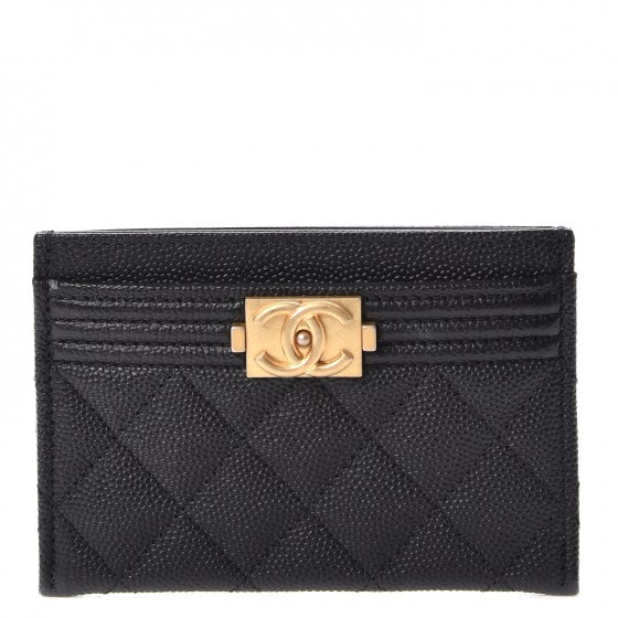 Chanel Boy Card Holder Quilted Diamond Black