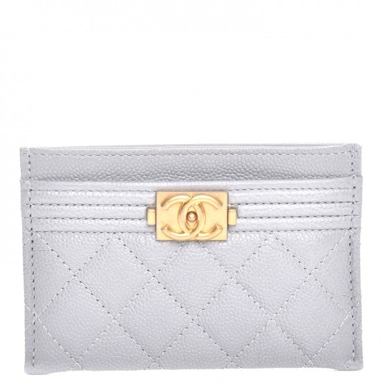 Chanel Boy Card Holder Quilted Diamond Grey