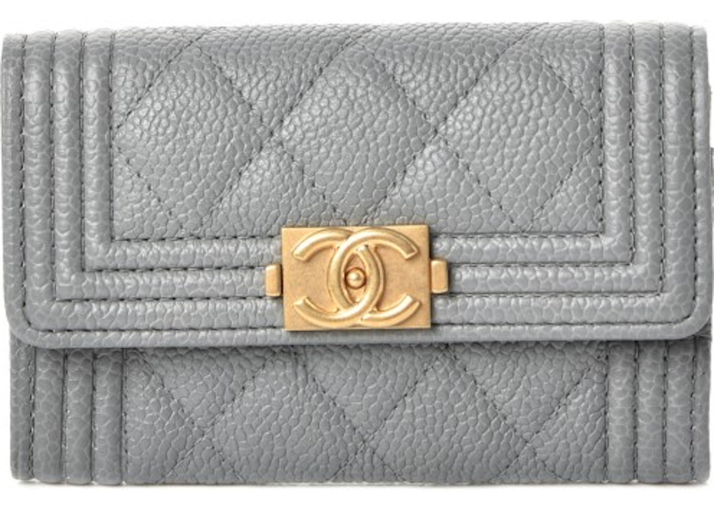 c24748e92924 Chanel Boy Card Holder Wallet Quilted Diamond Caviar Grey. Quilted Diamond  Caviar Grey