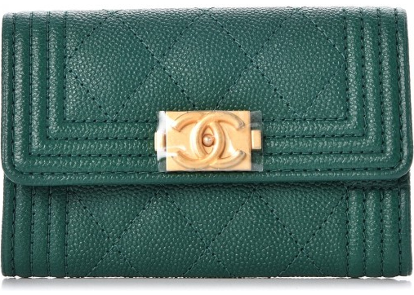 84fd1a16ed26 Chanel Boy Card Holder Wallet Quilted Diamond Green. Quilted Diamond Green