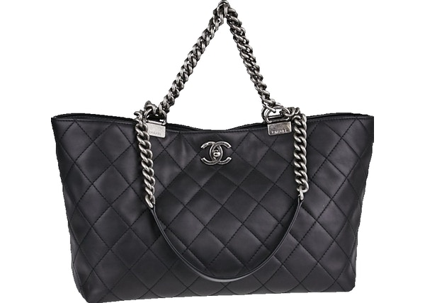 665425960087 Chanel Boy Chain Shopping Tote Quilted Large Black