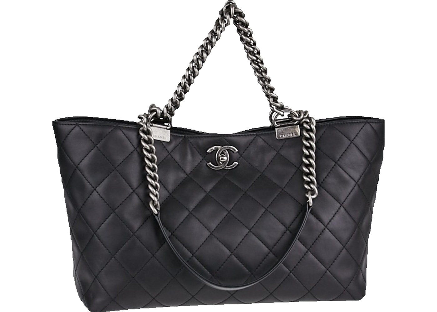 Chanel Boy Chain Shopping Tote Quilted Large Black a4b63c9cf349a