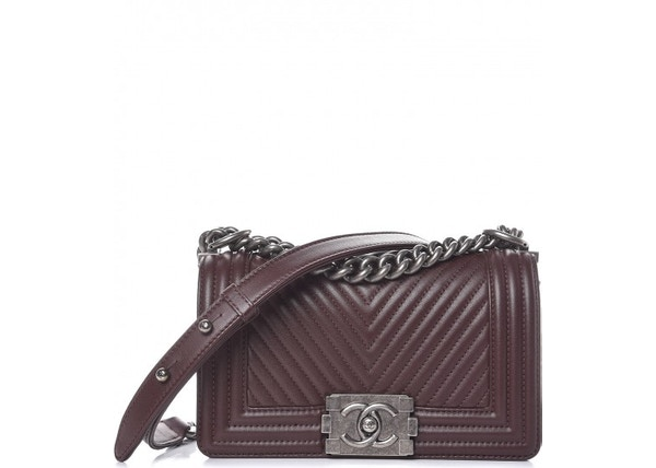 4140d6a95594fa Chanel Boy Chevron Quilted Small Burgundy