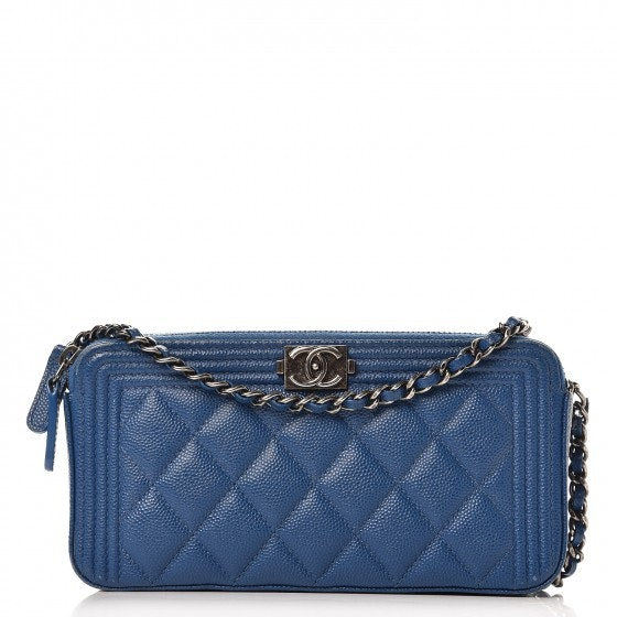Chanel Boy Clutch With Chain Quilted Diamond Small Blue